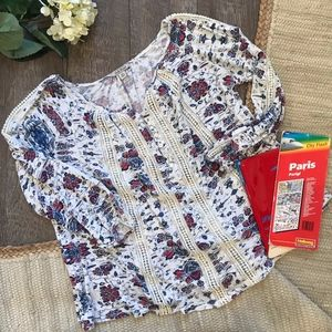 Lucky Brand Blue Floral Peasant Top XS Oversized